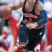 MOBILE, AL - DECEMBER 29:  Rakeem Dickerson #1 runs down the court after stealing the ball from Wendell Wright #10 of the South Alabama Jaguars at USA Mitchell Center on December 29, 2012 in Mobile, Alabama. At halftime Arkansas State leads South Alabama 28-23. (Photo by Michael Chang/Getty Images) *** Local Caption *** Rakeem Dickerson;Wendell Wright