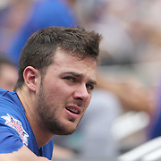 Kris Bryant, Chicago Cubs, in the dugout during the New York Mets Vs Chicago Cubs MLB regular season baseball game at Citi Field, Queens, New York. USA. 2nd July 2015. Photo Tim Clayton