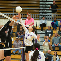 Miyamura Patriot Madison Hyatt (1) tips the ball over the net as the Aztec Tigers try to defend Tuesday evening at Miyamura High School in Gallup.