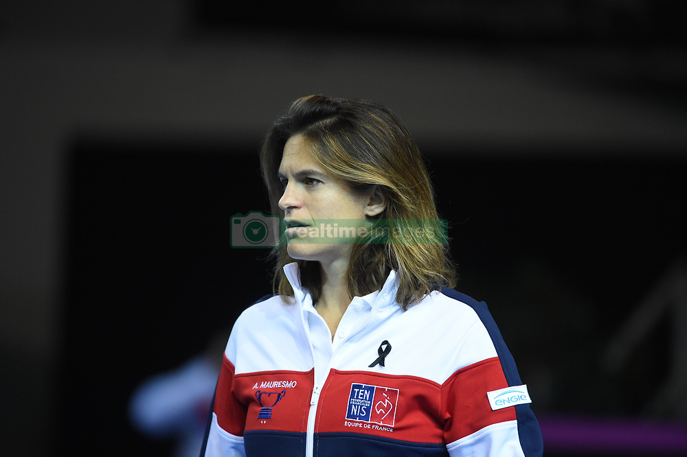 French Fed Cup captain Amelie Mauresmo during day 2 at the final round tie against Czech Republic at the Rhenus Arena, Strasbourg, France on november, 13, 2016. Photo by Corinne Dubreuil/ABACAPRESS.COM