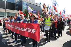 May 1, 2019 - Riga, Latvia, Latvia - Latvia, Riga, 1 may 2019. May day protest action of the political Association ''Russian Union of Latvia''. March for Russian schools and social justice against the elimination of education in Russian and the closure of schools. (Credit Image: © Russian Look via ZUMA Wire)
