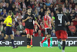 Tim Sparv ( L ) of FC Midtjylland scores the opening goal - Mandatory byline: Paul Terry/JMP - 07966386802 - 20/08/2015 - FOOTBALL - ST Marys Stadium -Southampton,England - Southampton v FC Midtjylland - EUROPA League Play-Off Round