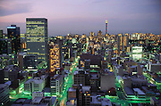 Downtown Johannesburg, South Africa at dusk. Material World Project.