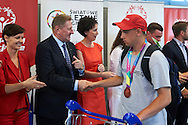 Official welcome of the Special Olympics Poland Team on August 4, 2015 at Okecie Airport in Warsaw, Poland.<br /> Poland, Warsaw, August 4, 2015<br /> <br /> Picture also available in RAW (NEF) or TIFF format on special request.<br /> <br /> For editorial use only. Any commercial or promotional use requires permission.<br /> <br /> Adam Nurkiewicz declares that he has no rights to the image of people at the photographs of his authorship.<br /> <br /> Mandatory credit:<br /> Photo by © Adam Nurkiewicz / Mediasport