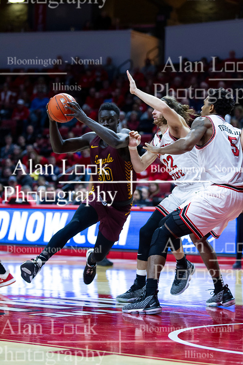 NORMAL, IL - January 19: Aher Uguak double teamed in the lane by Matt Chastain and Keith Fisher III during a college basketball game between the ISU Redbirds and the Loyola University Chicago Ramblers on January 19 2020 at Redbird Arena in Normal, IL. (Photo by Alan Look)