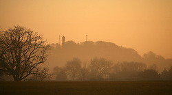 © London News Pictures. 01/03/2014. Cranmore, UK. A mist covered landscape at sunrise over Cranmore in Somerset, with Cranmore Tower pictured centre, on the first day of Meteorological Spring, March 1st 2014. Photo credit : Jason Brynat/LNP