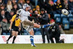 Castres Olympique Fly-Half Daniel Kirkpatrick clears - Photo mandatory by-line: Rogan Thomson/JMP - 07966 386802 - 14/12/2014 - SPORT - RUGBY UNION - High Wycombe, England - Adams Park Stadium - Wasps v Castres Olympique - European Rugby Champions Cup Pool 2.