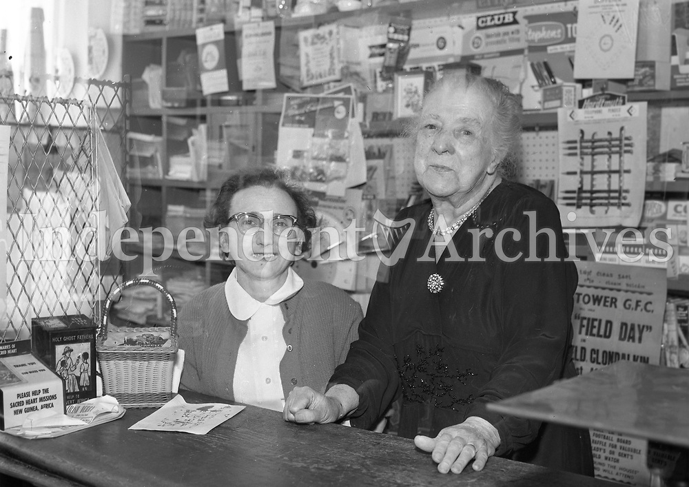 Mrs. W. Rilty retiring postmistress of Clondalkin with her daughter Josephine. May 29 1964. <br />