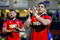 Bristol Rugby replacement Gaston Cortes celebrates after Bristol Rugby win 13-28 to take a 15 point lead into the second leg of the Final - Mandatory byline: Rogan Thomson/JMP - 18/05/2016 - RUGBY UNION - Castle Park - Doncaster, England - Doncaster Knights v Bristol Rugby - Greene King IPA Championship Play Off FINAL 1st Leg.