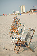 Beach chairs on the beach in Myrtle Beach, SC.