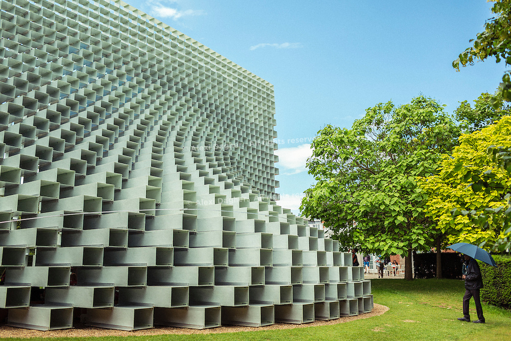 The Serpentine Gallery summer pavilion - designed by Danish architects BIG (Bjarke Ingels Group) with a structure of hollow fibreglass blocks - Kensington Gardens, London, England, 2016
