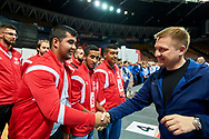 Katowice, Poland - 2017 September 03: SO Slovakia while Awarding Ceremony during European Unified Volleyball Tournament 2017 at Spodek Hall on September 03, 2017 in Katowice, Poland.<br /> <br /> Adam Nurkiewicz declares that he has no rights to the image of people at the photographs of his authorship.<br /> <br /> Picture also available in RAW (NEF) or TIFF format on special request.<br /> <br /> Any editorial, commercial or promotional use requires written permission from the author of image.<br /> <br /> Image can be used in the press when the method of use and the signature does not hurt people on the picture.<br /> <br /> Mandatory credit:<br /> Photo by © Adam Nurkiewicz / Mediasport
