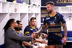 Francois Hougaard of Worcester Warriors and teammates  celebrate after beating Gloucester Rugby and securing Premiership Rugby status - Mandatory by-line: Robbie Stephenson/JMP - 28/04/2019 - RUGBY - Sixways Stadium - Worcester, England - Worcester Warriors v Gloucester Rugby - Gallagher Premiership Rugby