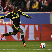 Kei Kamara, (left), Columbus Crew SC, in action during the New York Red Bulls Vs Columbus Crew SC, Major League Soccer Eastern Conference Championship, second leg, at Red Bull Arena, Harrison, New Jersey. USA. 29th November 2015. Photo Tim Clayton