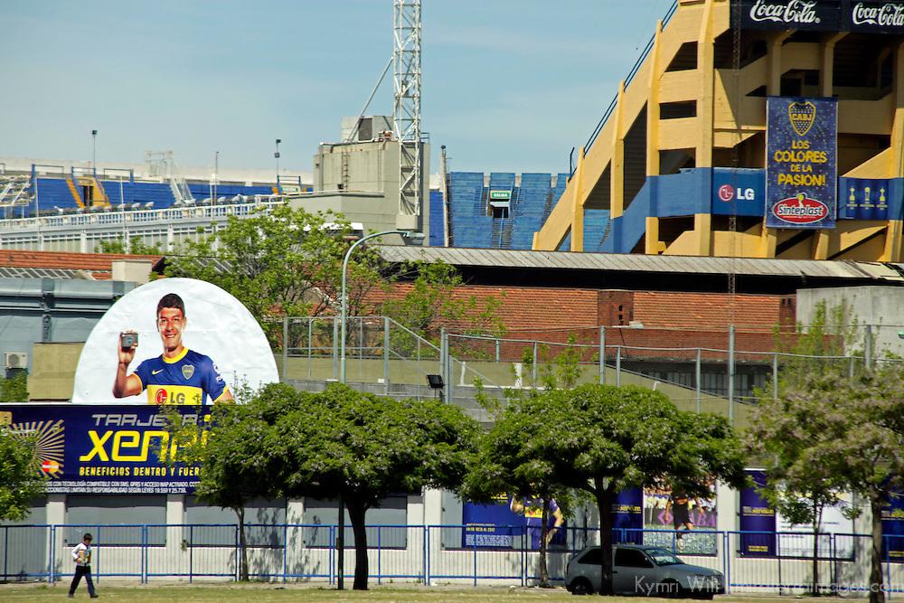 South America, Argentina, Buenos Aires. La Boca football stadium, La Bombonera, home to Boca Juniors Football Club.