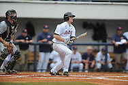 Ole Miss' Austin Anderson hits an RBI double to right field against Arkansas-Pine Bluff at Oxford-University Stadium in Oxford, Miss. on Wednesday, April 2, 2014. (AP Photo/Oxford Eagle, Bruce Newman)