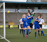 Megan McCarthy heads home her second and Farmington's third goal - Forfar Farmington v Glasgow Girls in the SWPL 2 at Station Park, Forfar, Photo: David Young<br /> <br />  - &copy; David Young - www.davidyoungphoto.co.uk - email: davidyoungphoto@gmail.com