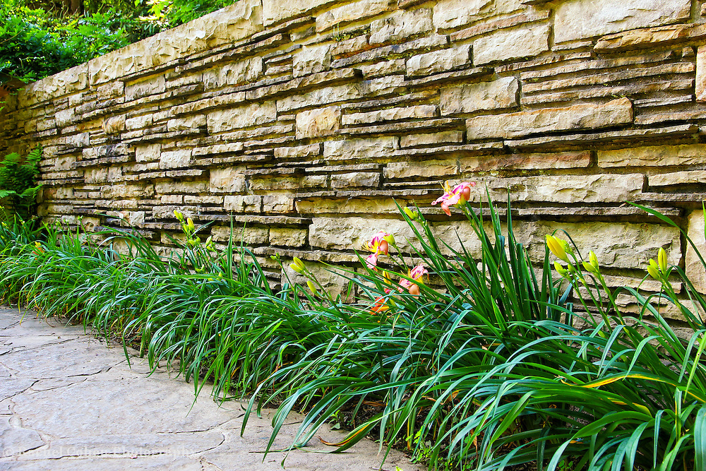 &quot;The Wall&quot;<br /> <br /> A wall and flowers at Fallingwater.<br /> <br /> Architecture: Structures and buildings by Rachel Cohen