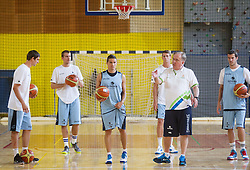Domen Lorbek, Zoran Dragic, Jaka Lakovic, Luka Lapornik, Bozidar Maljkovic, head coach and Goran Dragic during training camp of Slovenian National basketball team for Eurobasket 2013 on July 19, 2013 in Sports hall Rogatec, Slovenia. (Photo by Vid Ponikvar / Sportida.com)