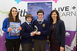 "Teacher Evelyn Dickson is pictured with students Cameron Ramsey, Faolan Radford McGovern from Portmarnock Community School winners of the Winners of the Scifest 2014 Horticulture Award (ITB) were Emily Browne and Tara McMullen from Mount Sackville for their project ""All Fruit are not created equal"" with Margie McCarthy, Science Foundation Ireland for their project  ""The Solar System After a Supernova"" at SciFest@ITB 2014. Post-primary school students from schools all over Dublin took  science to the next level with over 120 projects at SciFest@ITB 2014 in Institute of Technology Blanchardstown (ITB). The SciFest@ITB programme saw over 260 students from schools all over the region exhibit more than 120 projects at ITB and put their knowledge of science to the test! Picture Andres Poveda"