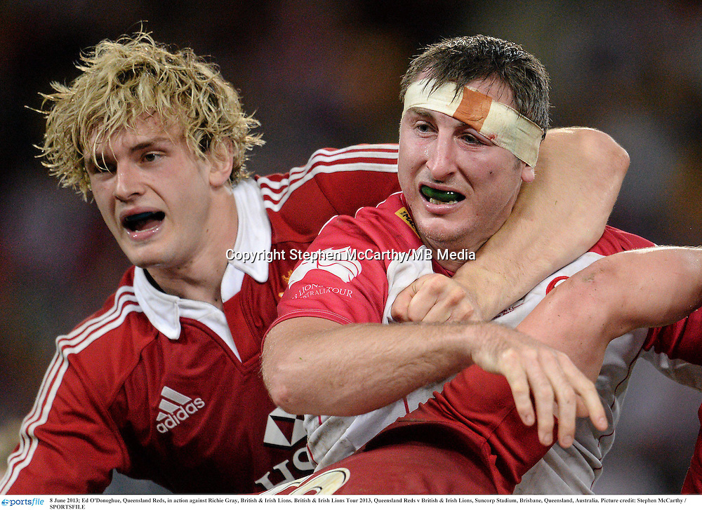 8 June 2013; Ed O'Donoghue, Queensland Reds, in action against Richie Gray, British & Irish Lions. British & Irish Lions Tour 2013, Queensland Reds v British & Irish Lions, Suncorp Stadium, Brisbane, Queensland, Australia. Picture credit: Stephen McCarthy / SPORTSFILE
