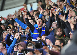 Cardiff City fans sing throughout the game. - Photo mandatory by-line: Alex James/JMP - Tel: Mobile: 07966 386802 08/02/2014 - SPORT - FOOTBALL - Swansea - Liberty Stadium - Swansea City v Cardiff City - Barclays Premier League