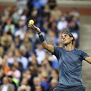 Rafael Nadal, Spain, in action against Novak Djokovic, Serbia, during the Men's Singles Final at the US Open, Flushing. New York, USA. 9th September 2013. Photo Tim Clayton
