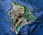 Our visited sights and lodging are marked on a terrain map of the Big Island, Hawaii, USA.