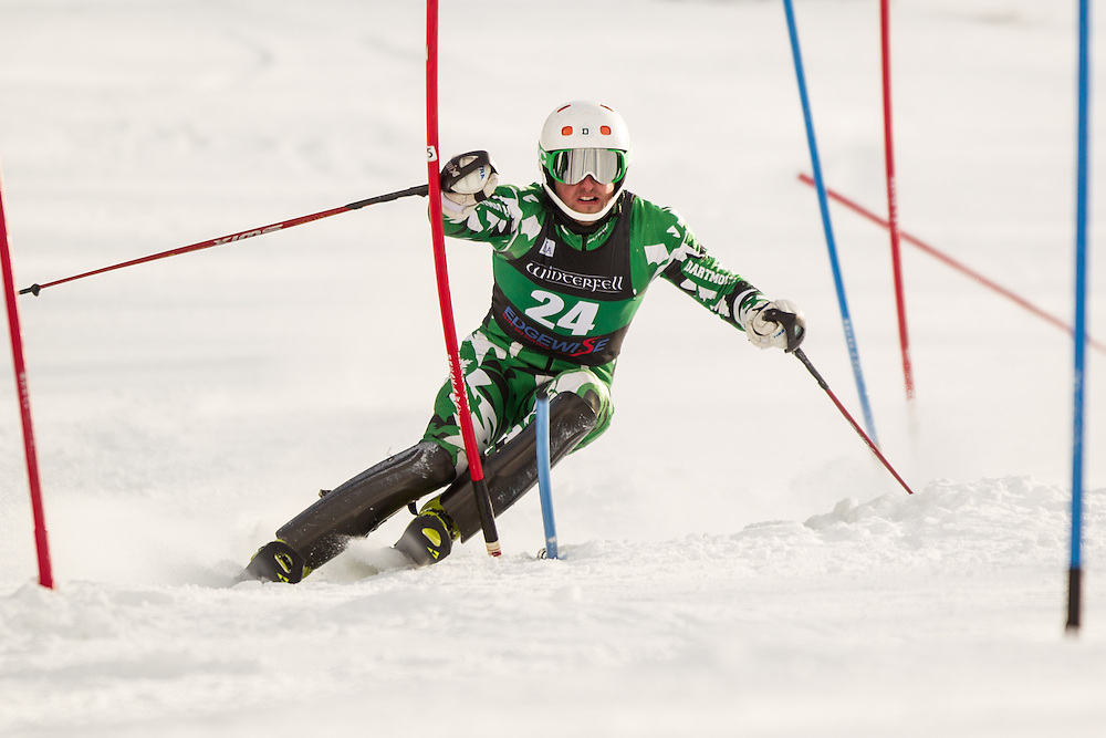 Mathieu Bertrand of Dartmouth College, skis during the second  run of the men's slalom at the University of Vermont Carnival at Burke Mountain on January 26, 2014 in East Burke, VT. (Dustin Satloff/EISA)