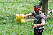 Gary Allen, an MAA student, listens for his teammates' directions during team builidng exercies at The Ridges on Friday, June 26, 2015. © Ohio University / Photo by Rob Hardin