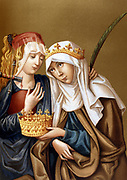 St Elizabeth of Hungary (1207-1231) daughter of Andras II of Hungary, wife of Louis, Landgrave of Thuringia, Germany. Noted for piety and ascetcism. Elizabeth with St Lucy. 19th century chromolithograph.