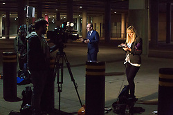 TV crews filing reports outside Wembley Stadium in London, after Sam Allardyce left his job as England manager by mutual consent.