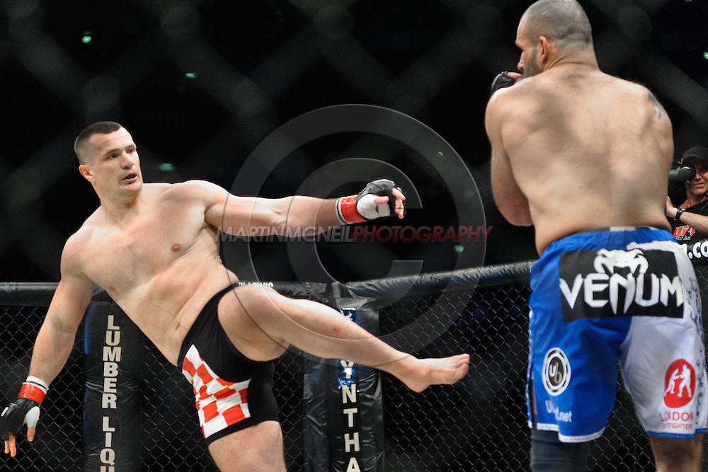 "COLOGNE, GERMANY, JUNE 13, 2009: Mirko Filipovic and Mostapha Al Turk during ""UFC 99: The Comeback"" inside LanXess Arena, Cologne"