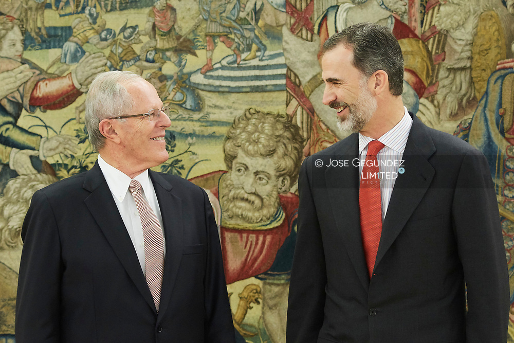 King Felipe VI of Spain attends an audience with Pedro Pablo Kuczynski, President of Peru at Zarzuela Palace on June 13, 2017 in Madrid