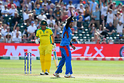 Hamid Hassan of Afghanistan appeals for the wicket of Aaron Finch of Australia who is given not out during the ICC Cricket World Cup 2019 match between Afghanistan and Australia at the Bristol County Ground, Bristol, United Kingdom on 1 June 2019.