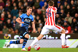 Harry Kane of Tottenham Hotspur takes on Philipp Wollscheid of Stoke City  - Mandatory by-line: Matt McNulty/JMP - 18/04/2016 - FOOTBALL - Britannia Stadium - Stoke, England - Stoke City v Tottenham Hotspur - Barclays Premier League