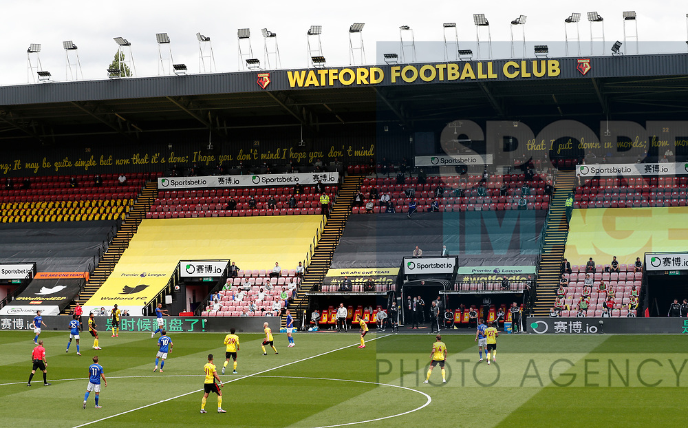 General view of the match without fans during the Premier League match at Vicarage Road, Watford. Picture date: 20th June 2020. Picture credit should read: Darren Staples/Sportimage