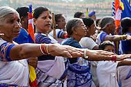 Kvinnor hälsar minnet av Dr Amberkar, Nagpur, Indien