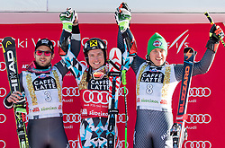 18.12.2016, Grand Risa, La Villa, ITA, FIS Ski Weltcup, Alta Badia, Riesenslalom, Herren, Siegerpräsentation, im Bild Mathieu Faivre (FRA, 2. Platz), Marcel Hirscher (AUT, 1. Platz), Florian Eisath (ITA, 3. Platz) // second placed Mathieu Faivre of France, race winner Marcel Hirscher of Austria, third placed Florian Eisath of Italy during the winner presentation for the men's Giant Slalom of FIS ski alpine world cup at the Grand Risa race Course in La Villa, Italy on 2016/12/18. EXPA Pictures © 2016, PhotoCredit: EXPA/ Johann Groder