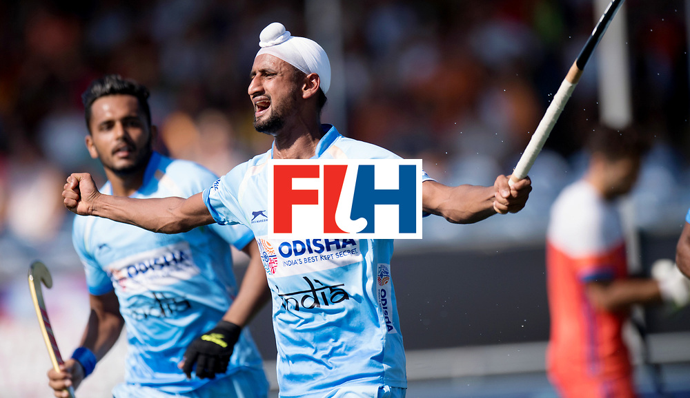 BREDA - Rabobank Hockey Champions Trophy<br /> The Netherlands - India<br /> Photo: Mandeep Singh celebrates his goal.<br /> COPYRIGHT WORLDSPORTPICS FRANK UIJLENBROEK