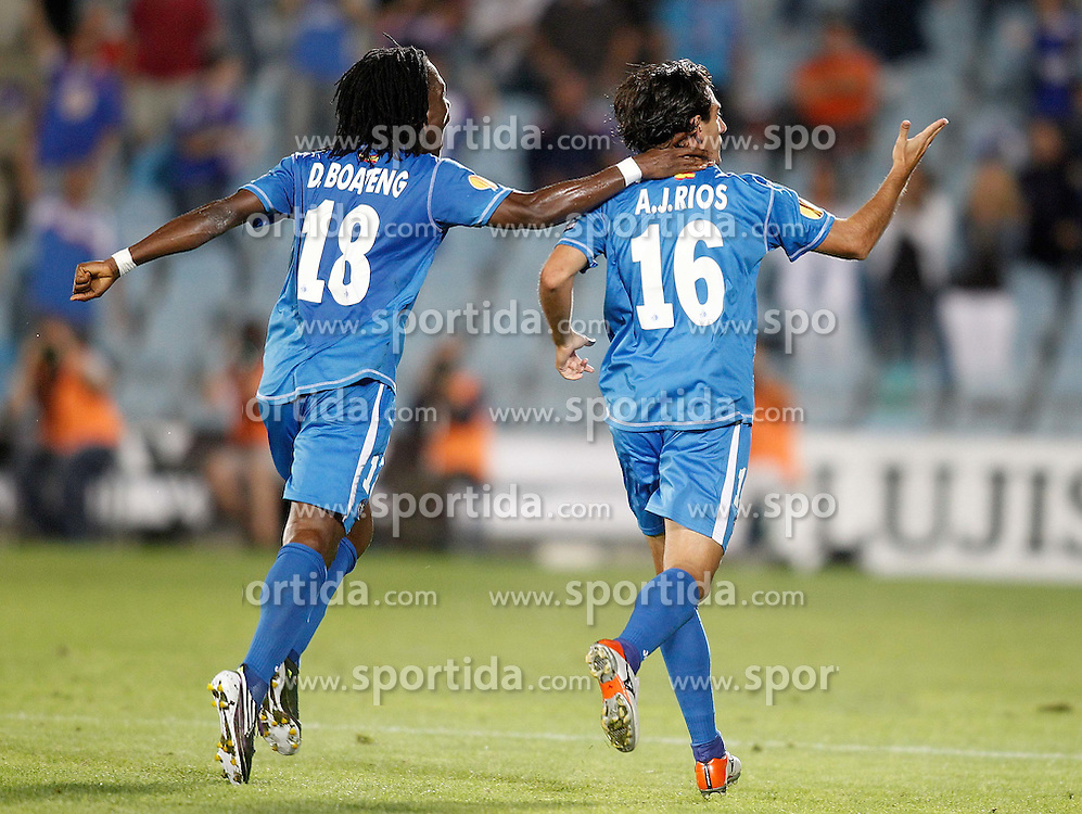 15.09.2010, Coliseum Alfonso Perez, Getafe, ESP, UEFA EL, Getafe vs Odense, im Bild Getafe's Pedro Rios celebrates with Derek Boateng during Europa League match. EXPA Pictures © 2010, PhotoCredit: EXPA/ Alterphotos/ Alvaro Hernandez +++++ ATTENTION - OUT OF SPAIN / ESP +++++ / SPORTIDA PHOTO AGENCY