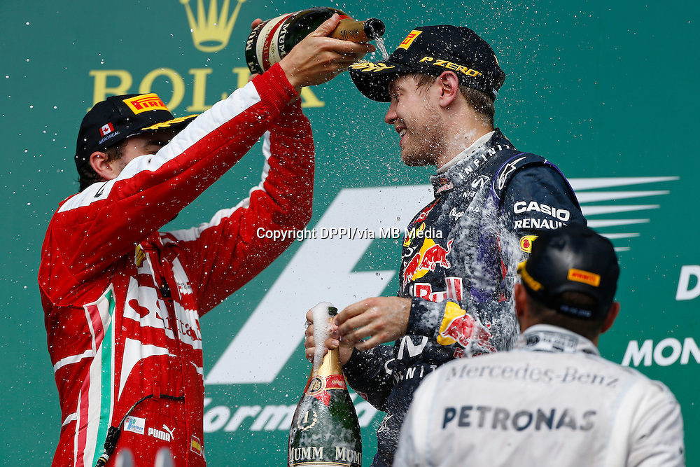 MOTORSPORT - F1 2013 - GRAND PRIX OF CANADA - MONTREAL (CAN) - 07 TO 09/06/2013 - PHOTO FRANCOIS FLAMAND / DPPI - VETTEL SEBASTIAN (GER) - RED BULL RENAULT RB9 - AMBIANCE PORTRAIT PODIUM ALONSO FERNANDO (SPA) - FERRARI F138 - AMBIANCE PORTRAIT