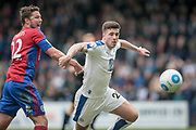 Cole Stockton (Tranmere Rovers) gets past Callum Reynolds (Captain) (Aldershot Town) to set up a goal scoring chance in the final moments of the game during the Vanarama National League second leg play off match between Tranmere Rovers and Aldershot Town at Prenton Park, Birkenhead, England on 6 May 2017. Photo by Mark P Doherty.