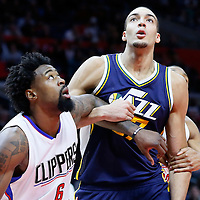 25 November 2015: Utah Jazz center Rudy Gobert (27) vies for the rebound with Los Angeles Clippers center DeAndre Jordan (6) during the Utah Jazz 102-91 victory over the Los Angeles Clippers, at the Staples Center, Los Angeles, California, USA.