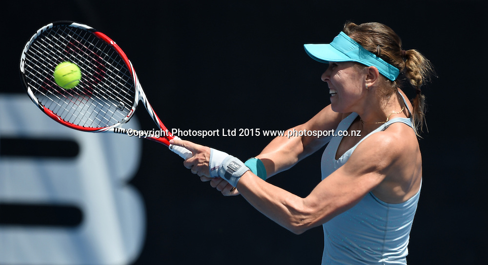 Czech Republic's Lucie Hradecka in action during her first round singles match on Day 2 at the ASB Classic WTA International. Auckland, New Zealand. Tuesday 6 January 2015. Copyright photo: Andrew Cornaga/www.photosport.co.nz