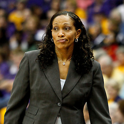 November 16, 2011; Baton Rouge, LA; Georgetown Hoyas head coach Terry Williams-Flournoy reacts to an officials call during the first half of a game against the LSU Tigers at the Pete Maravich Assembly Center.  Mandatory Credit: Derick E. Hingle-US PRESSWIRE