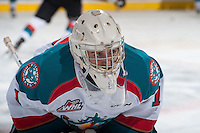 KELOWNA, CANADA - JANUARY 7: Jackson Whistle #1 of Kelowna Rockets warms up against the Vancouver Giants on January 7, 2015 at Prospera Place in Kelowna, British Columbia, Canada.  (Photo by Marissa Baecker/Shoot the Breeze)  *** Local Caption *** Jackson Whistle;