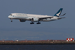 Airbus A350-941 (B-LRM) operated by Cathay Pacific landing at San Francisco International Airport (KSFO), San Francisco, California, United States of America