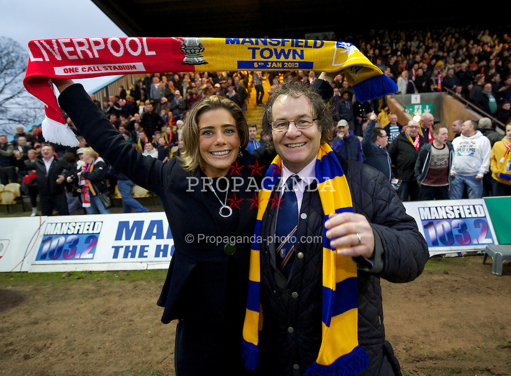 MANSFIELD, ENGLAND - Sunday, January 6, 2013: Mansfield Town's Owner & Chairman John Radford and wife Chief Executive Officer Carolyn Radford before the FA Cup 3rd Round match against Liverpool at Field Mill. (Pic by David Rawcliffe/Propaganda)
