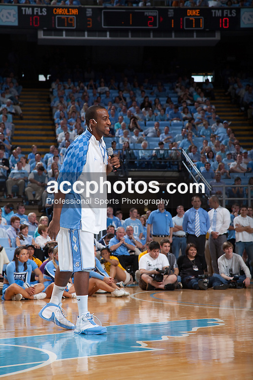 08 March 2009: North Carolina Tar Heels forward Mike Copeland (40) appears in front of the Carolina fans one last time in the Smith Center as a player as he delivers his senior speech after a 79-71 win over the Duke Blue Devils at the Dean Smith Center in Chapel Hill, NC.